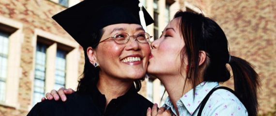 40 year old female graduate student and her daughter