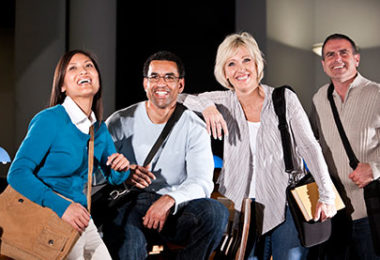 group of four adult students