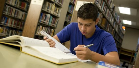 freshman studying at the library