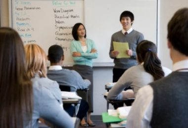Student deliver the presentations in front of the class