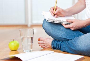student, apple and water