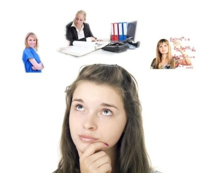 female student thinking about what to do
