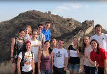 students at great wall, china